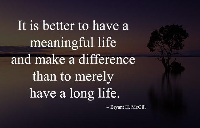 Meaningful Life - Long Life Caption
