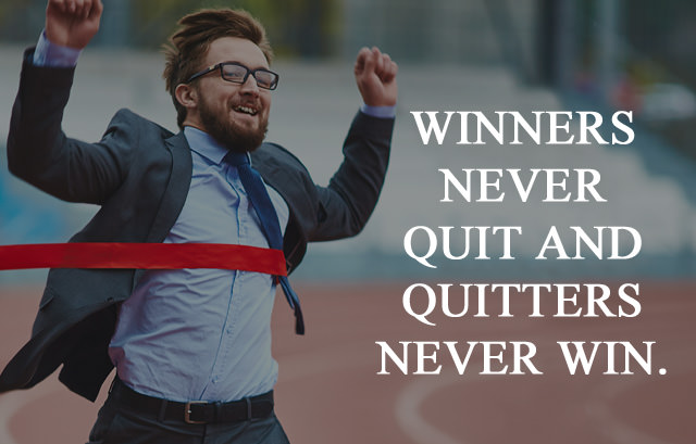 Winner Never Quit and Quitters Never Win - Insta Motivation Caption